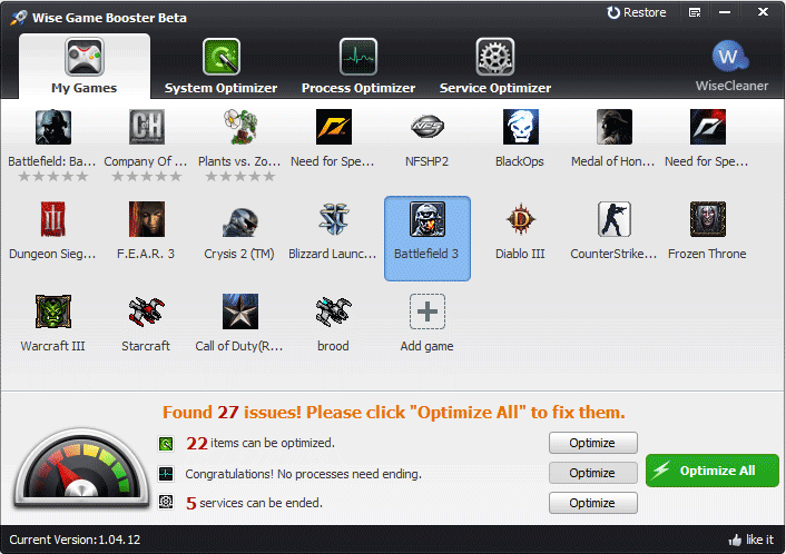 Windows 7 Wise Game Booster 1.39.48 full