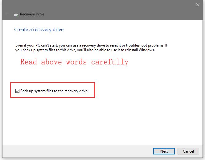 create a recovery drive windows 10 usb