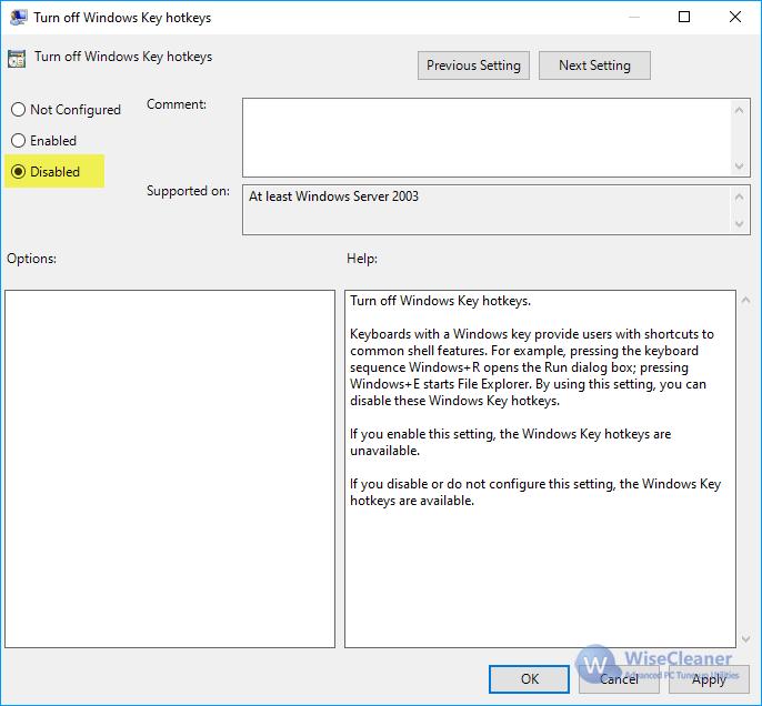 Turn on Windows Key hotkeys