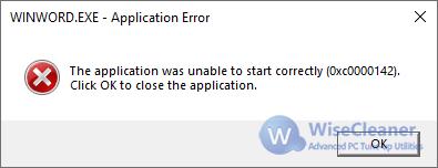 word error 0xc0000142