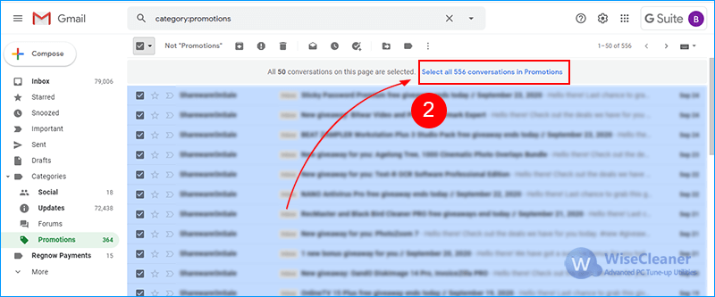 select all mails in gmail