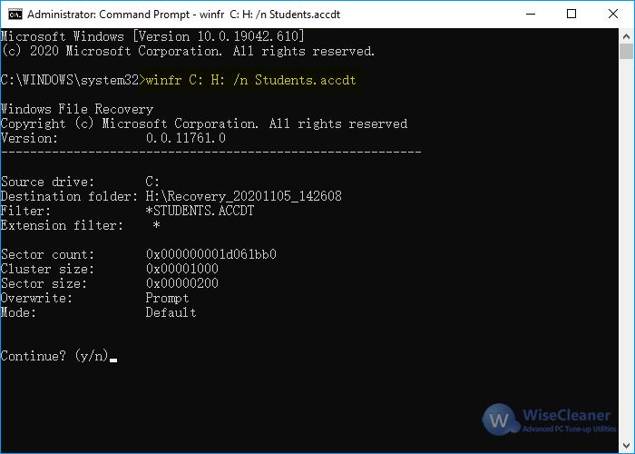 Windows File Recovery - analyze drive