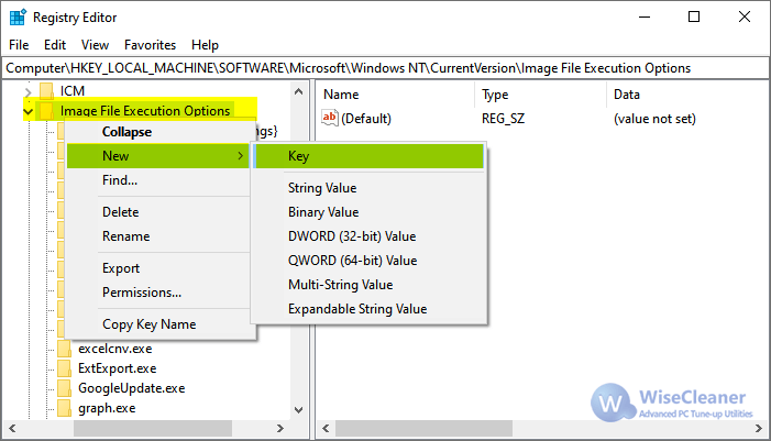 WiseCleaner IFEO Registry Editor