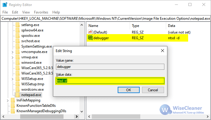 WiseCleaner IFEO New String Value