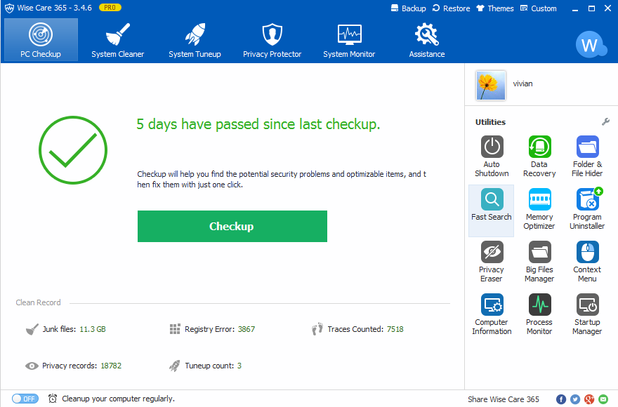 How to Clean Up Junk Files by Free Wise Care 365 Pro